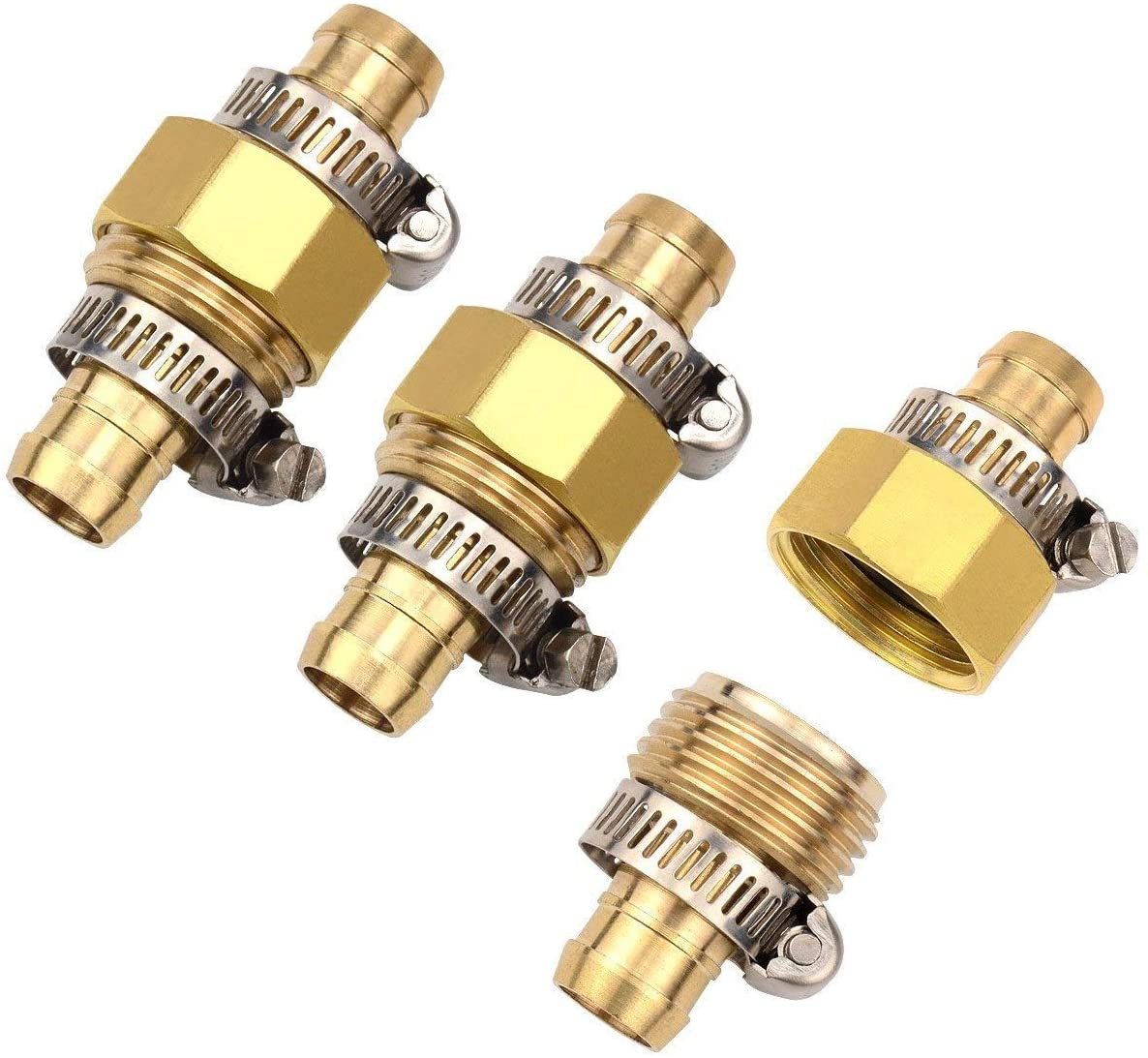 3Sets Brass Garden Hose Mender End Repair Male Female Connector with Stainless Clamp