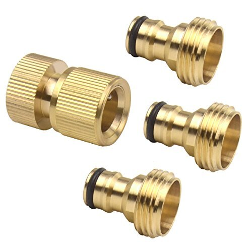 Set of 4 Brass Male and Female 3/4 Inch Garden Hose End and Faucet Quick Connector Set