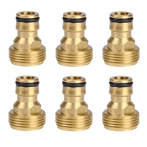 6 Pieces Brass Male Thread Faucet Hose Nozzle Quick Connect Adapter