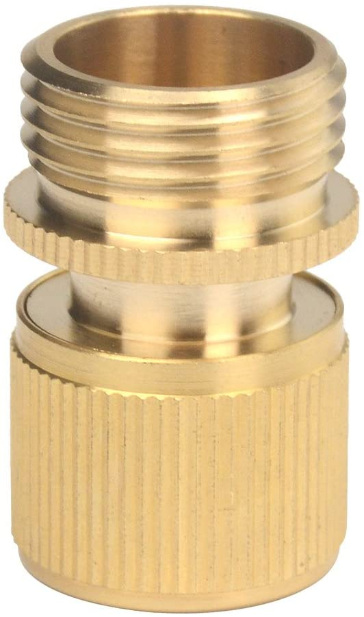Set of Brass Male and Female 3/4 Inch Garden Hose End and Faucet Quick Connector Set