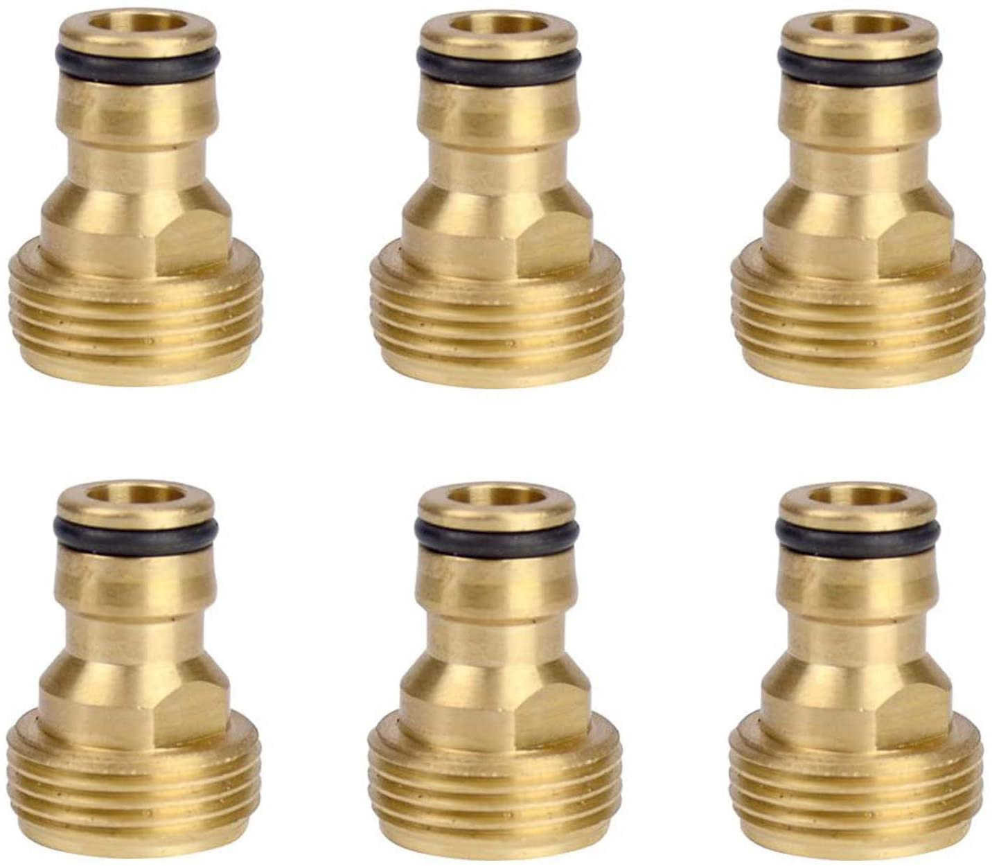 6Pcs Brass Garden Lawn Water Hose Pipe Fitting Connector