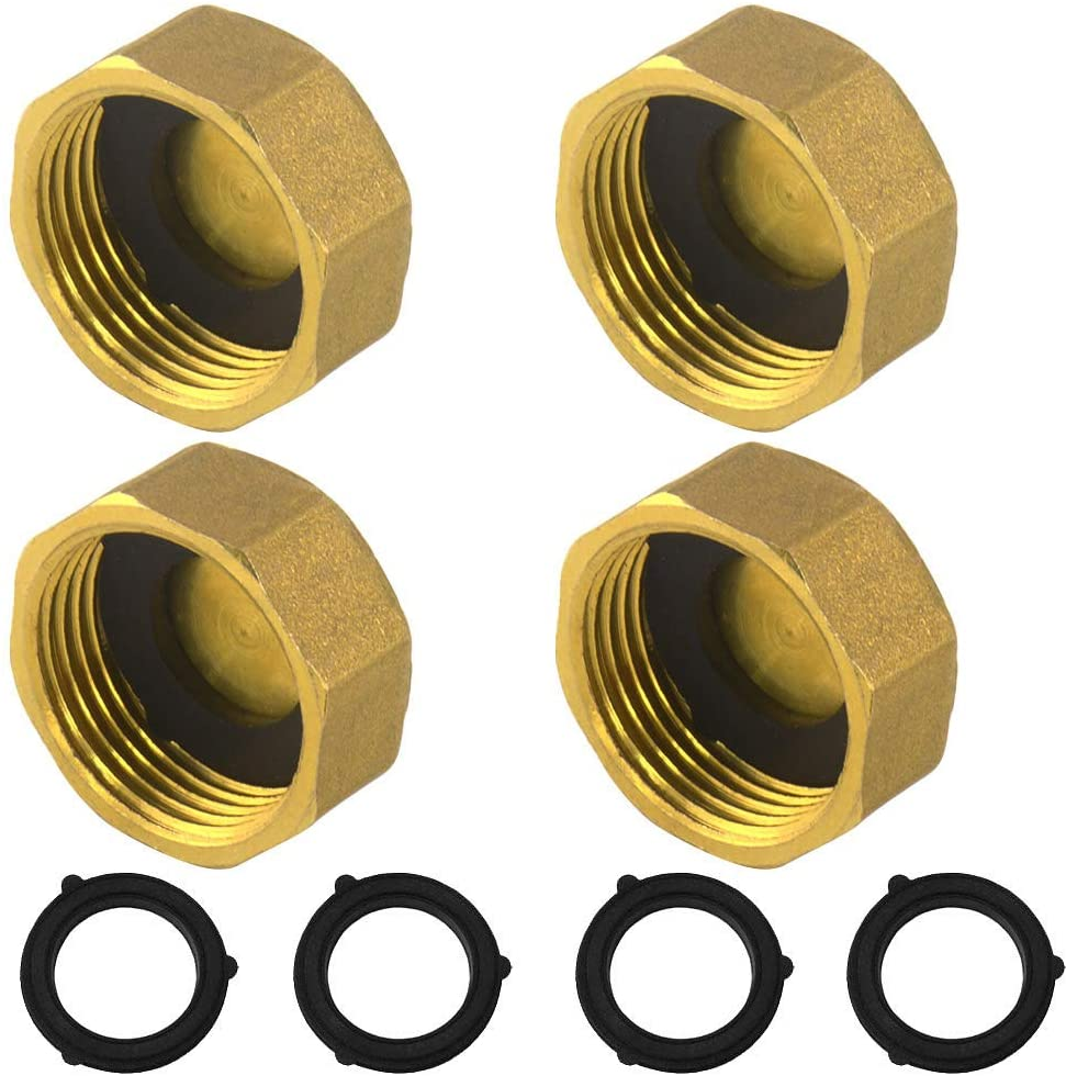 4 Pieces Home Garden Hose 3/4 Inch Female End Fitting Cap Brass Spigot Cap With 8 Pieces Washer