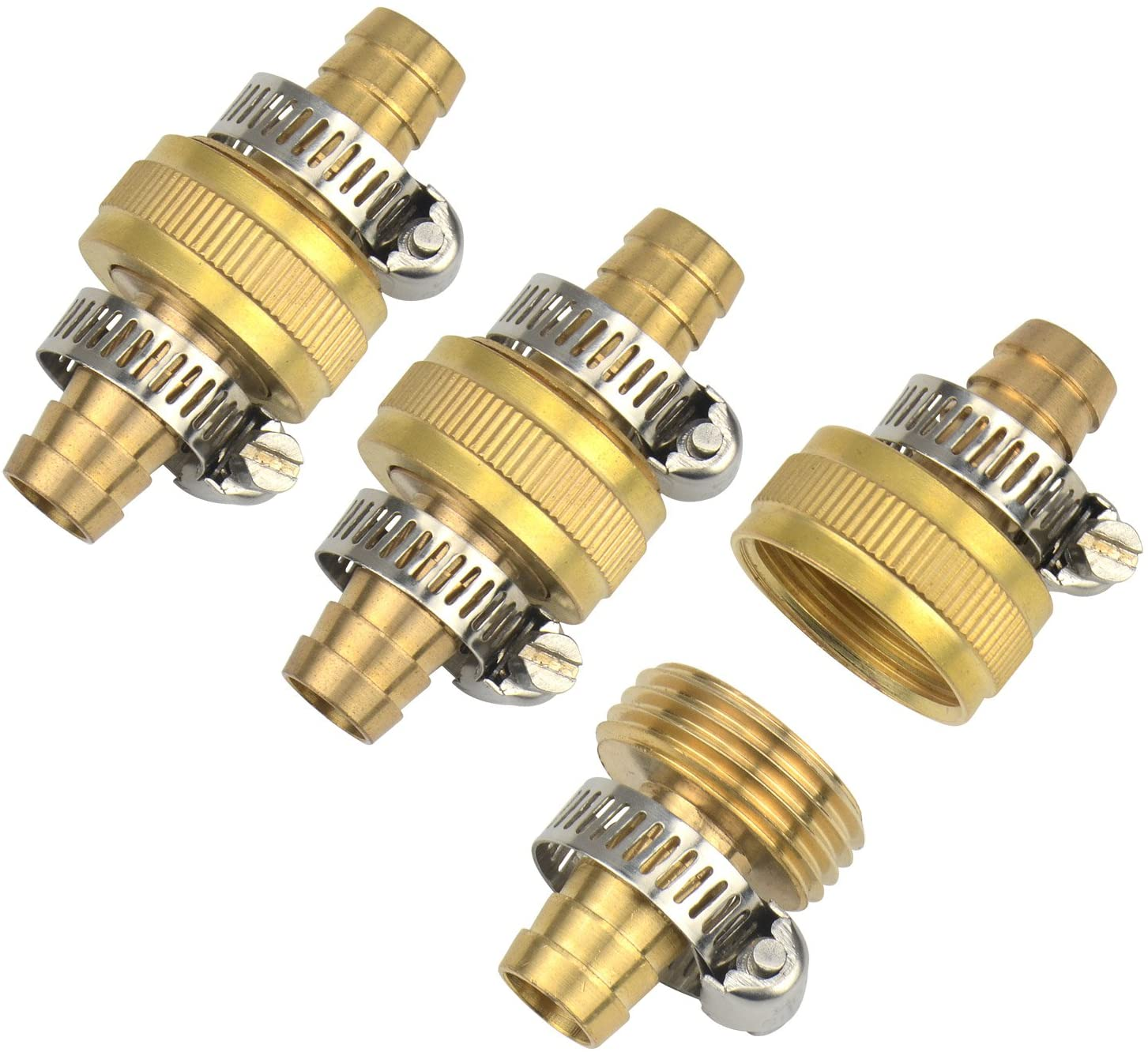 "3Sets 5/8"" Brass Garden Hose Mender End Repair Male Female Connector with Stainless Clamp"