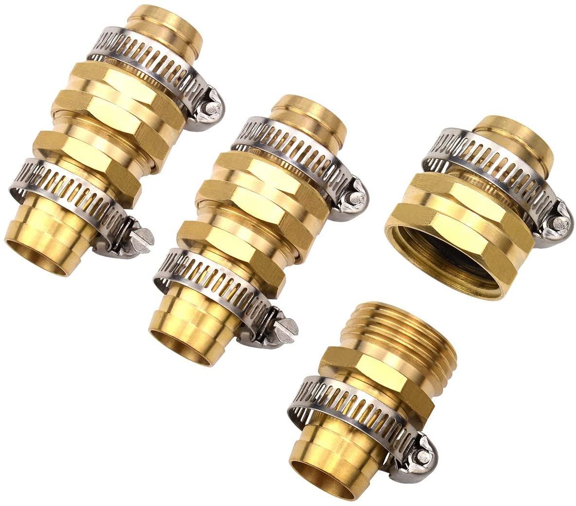 "3Sets 3/4"" Brass Garden Hose Mender End Repair Male Female Connector with Stainless Clamp"