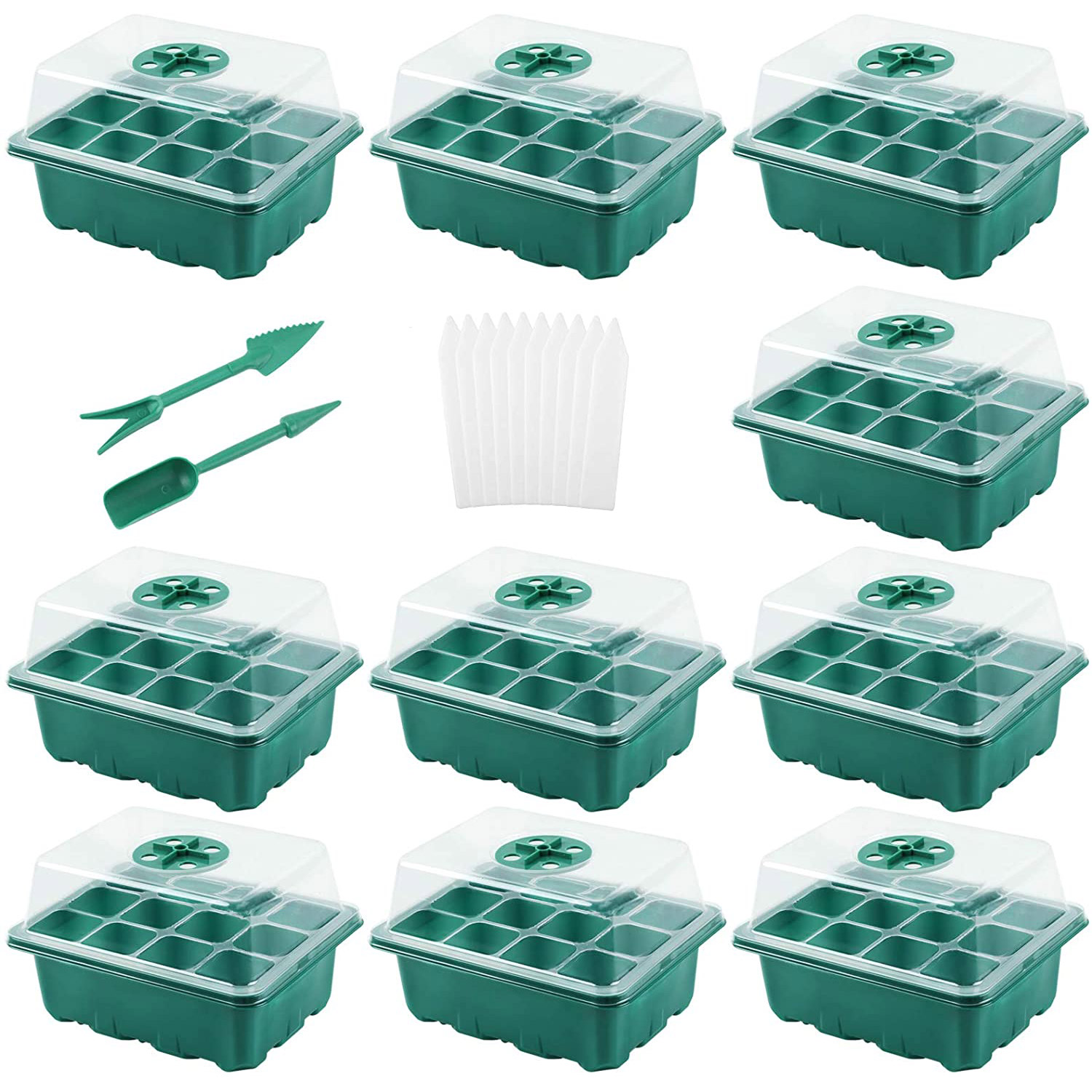 10 Pack SeedStarter Trays Seedling 12 Cells per Tray, Humidity Adjustable Plant Starter Kit with Dome
